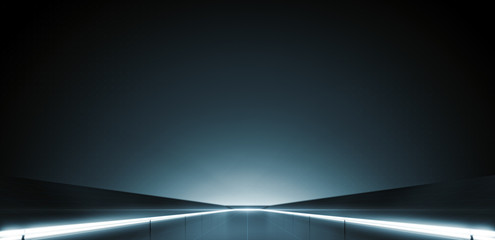 Elegant futuristic light and reflection with grid line background. 3D rendering.