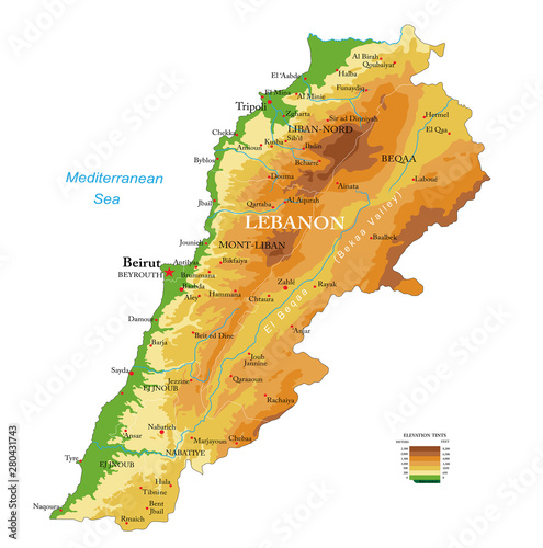 Lebanon physical map Canvas Print