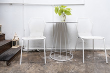 Metal White Chair And Table At...