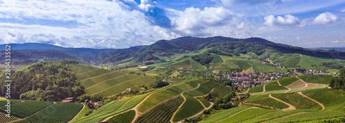 Photo View from Staufenberg Castle to the Black Forest with grapevines near the villag