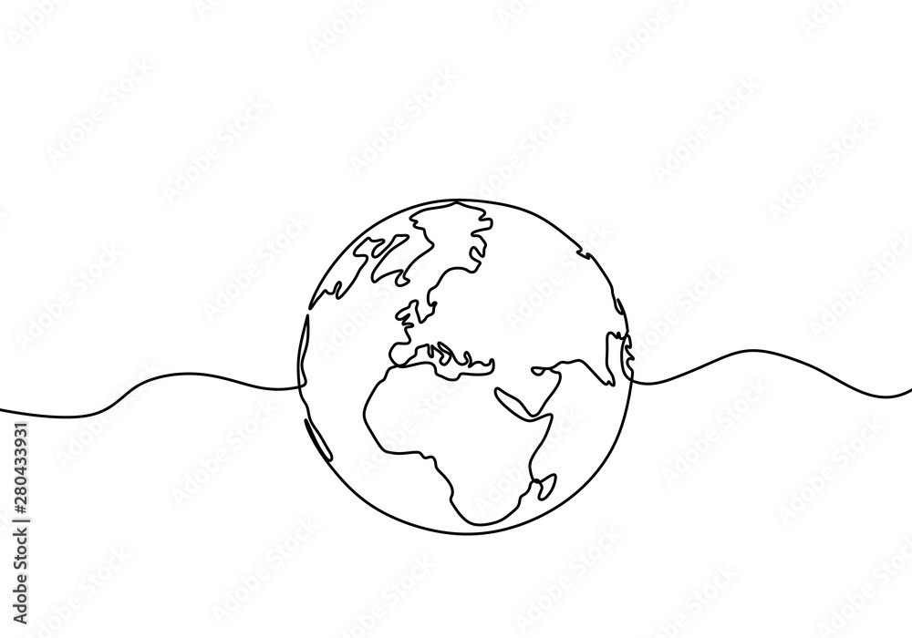 Fototapety, obrazy: Earth globe one line drawing of world map vector illustration minimalist design of minimalism isolated on white background