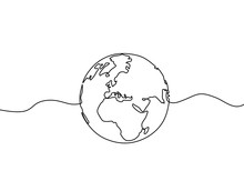 Earth Globe One Line Drawing O...