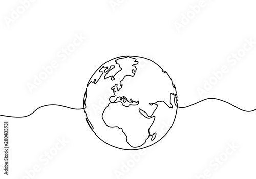 Fotografie, Tablou Earth globe one line drawing of world map vector illustration minimalist design