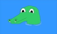Crocodile With Head Above Water Vector Illustration-01
