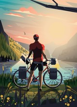 Cyclist In The Mountains Stari...