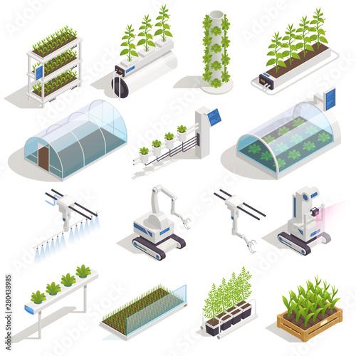 Fotografia Greenhouse Hydroponics Isometric Set