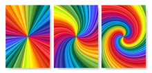 Backgrounds Set Of Vivid Rainbow Colored Swirl Twisting Towards Center. Paper A4 Size Vector Illustration