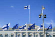 Flags Of Europe And Finland Waving Together On The Presidential Palace In Helsinki, European Union