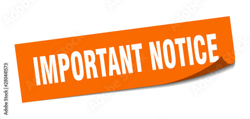 Obraz important notice sticker. important notice square isolated sign. important notice - fototapety do salonu