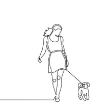 Continuous Line Drawing Of Dog And A Young Girl Walking Minimalist Design. A Concept Of Animal Pet With Care.