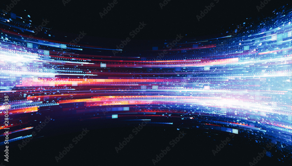 Fototapety, obrazy: Led Light.  Future tech. Shine dynamic scene. Neon flare. Colorful rays. .Magic moving fast lines. Sparkling studio. Hologram display. Mystic beam. Stylish fantasy space. Bright blurred waves.