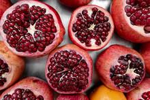Close Up Of Fresh Pomegranates
