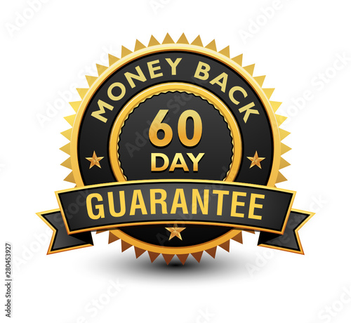 Fotografía  Heavy powerful 60 day money back guarantee badge, seal, stamp, label with ribbon isolated on white background
