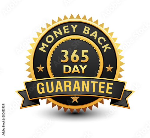 Fotografia, Obraz Heavy powerful 365 day money back guarantee badge, seal, stamp, label with ribbon isolated on white background
