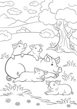 Coloring Pages. Mother Pig Lays With Her Little Cute Piglets.
