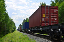 Freight Train, Transportation Of Railway Cars By Cargo Containers Shipping. Railway Logistics Concept - Image