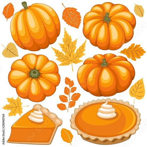 Ingelijste posters Draw Pumpkins, Pumpkins Pie and Autumn Leaves Vector Elements isolated on white