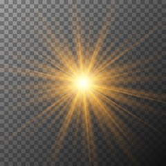 Realistic starburst lighting. Yellow sun rays and glow on transparent background. Glowing light burst explosion. Flare effect decoration with ray sparkles.