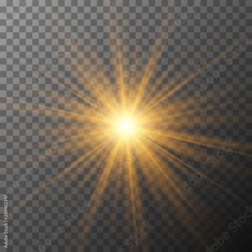 Obraz Realistic starburst lighting. Yellow sun rays and glow on transparent background. Glowing light burst explosion. Flare effect decoration with ray sparkles. - fototapety do salonu
