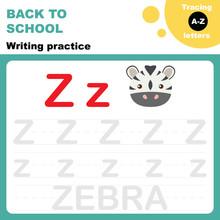 Back To School. Writing Practice Worksheet. Tasing Alphabet Letters. Letter Z Is For Zebra. Flash Card For Preschoolers.