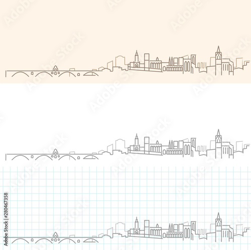 Avignon Hand Drawn Profile Skyline Canvas Print