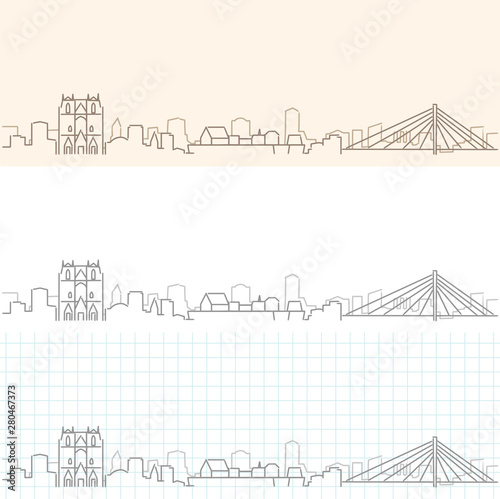 Nantes Hand Drawn Profile Skyline Fototapete