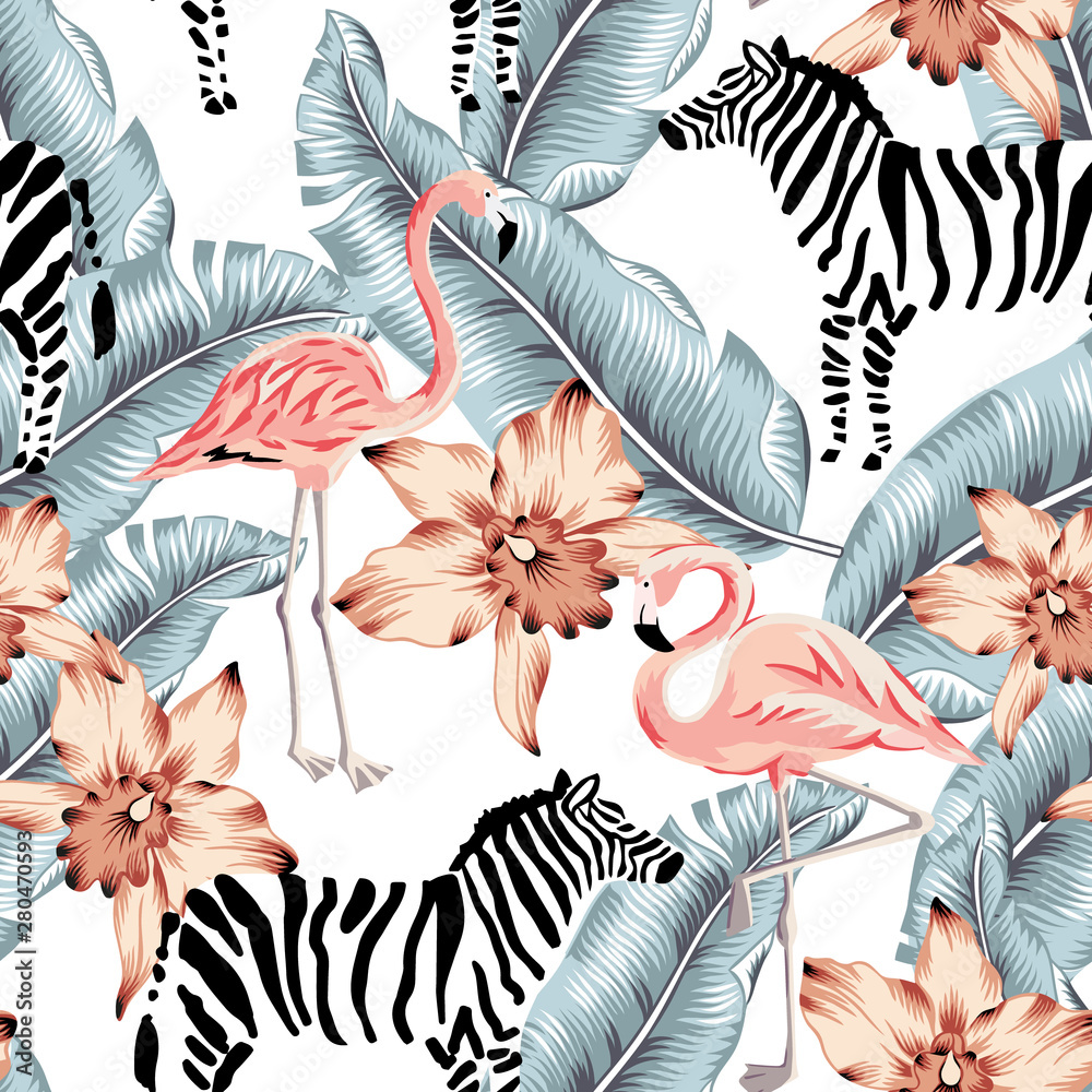 Fototapety, obrazy: Tropical pink flamingo, zebra, orchid flowers, banana palm leaves, white background. Vector seamless pattern. Jungle illustration. Exotic plants, bird, animal. Summer floral design. Paradise nature