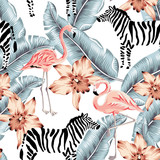 Fototapeta Sypialnia - Tropical pink flamingo, zebra, orchid flowers, banana palm leaves, white background. Vector seamless pattern. Jungle illustration. Exotic plants, bird, animal. Summer floral design. Paradise nature