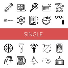 Set Of Single Icons Such As Link, Tooth Brush, Online Shopping, Search, Checklist, Calendar, Time, Teddy, Binoculars, Basketball, Crane, Torch, Lamp, No Bomb, Whistle , Single