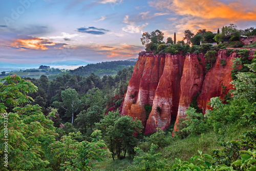 Roussillon, Provence, France: landscape at dawn of the ochre rocks and the valley in the nature park of Luberon