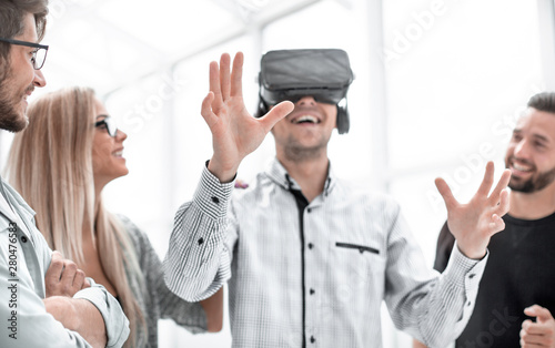 Man in glasses VR at the office