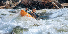 Guy In Kayak Sails Mountain Ri...