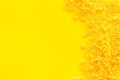 Leinwanddruck Bild - Italian pasta for restaurant on yellow table background top view space for text