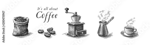 Fototapeta Turkish cezve pot, cup of hot drink, coffee beans, grinder and coffee sack bag. Hand drawn engraving style illustrations. obraz