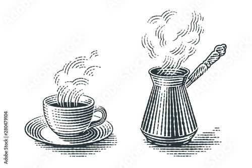 Fotografie, Obraz  Turkish cezve pot and cup of hot drink