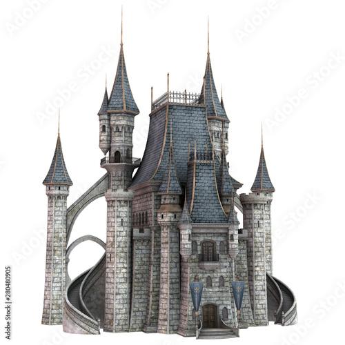 3D Rendered Fairy Tale Castle on White Background - 3D Illustration Fototapet