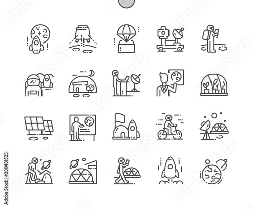 Cuadros en Lienzo Mission to mars Well-crafted Pixel Perfect Vector Thin Line Icons 30 2x Grid for Web Graphics and Apps