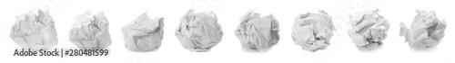 Fotografie, Tablou  Set with paper balls on white background. Banner design