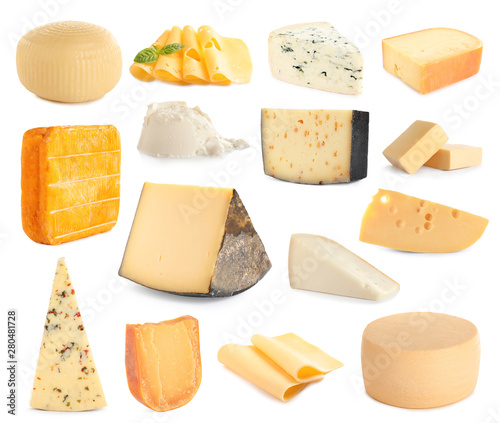 Set of different delicious cheeses on white background Wall mural