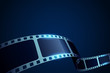 Realistic 3d Film reel stripe cinema on blue background with place for text. Modern 3d isometric film strip in perspective. Vector cinema festival. Movie template for backdrop, brochure, leaflet.