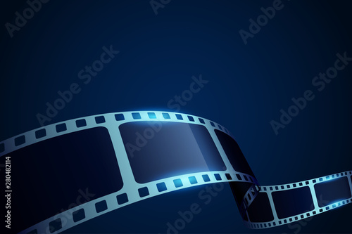Obraz Realistic 3d Film reel stripe cinema on blue background with place for text. Modern 3d isometric film strip in perspective. Vector cinema festival. Movie template for backdrop, brochure, leaflet. - fototapety do salonu