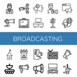 Set of broadcasting icons such as Journalist, Megaphone, Tv, Loudspeaker, Paparazzi, Signaling, Tower, Antenna, Television , broadcasting