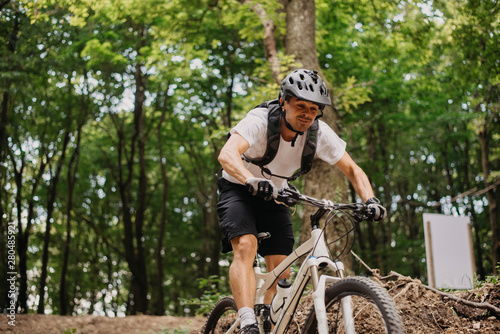 Aluminium Prints Cycling Man on his mountain bike outdoors