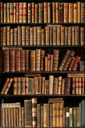 Fotomural  old books on wooden shelf