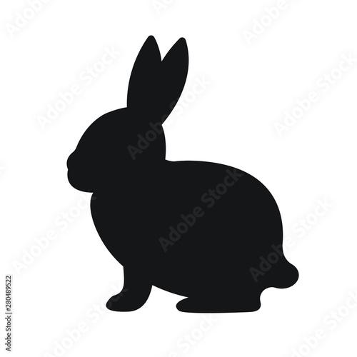 Fototapeta Vector flat black rabbit bunny silhouette isolated on white background