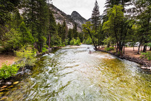 Merced River Flowing Through Yosemite Valley, Yosemite National Park, California; Cloudy Summer Day
