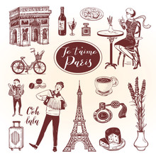 French Doodle Set With Lettering In Hand Drawn Style. Isolated Icons For Vintage Background.