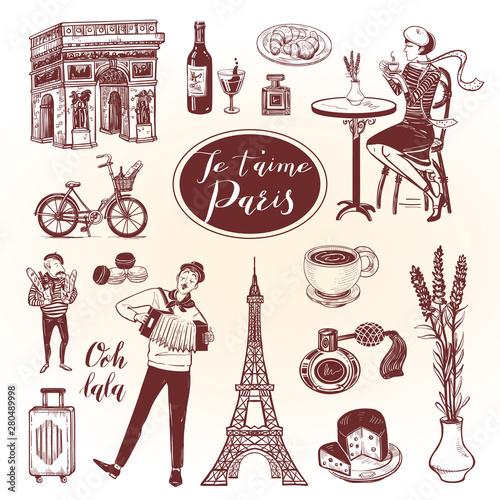 French doodle set with lettering in hand drawn style Wallpaper Mural