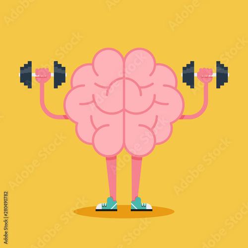 Fotografia  Brain training with dumbbell flat design. Creative idea concept