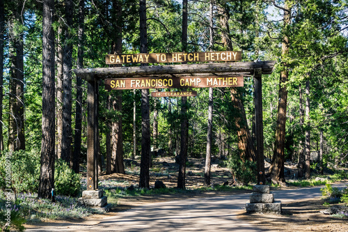 Fotografering  Entrance to Camp Mather, managed by San Francisco Recreation & Parks Department;